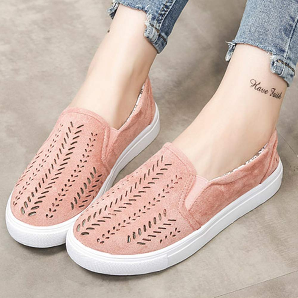 Centipede Demon Girls Casual Slip on Shoes Comfort Shoes Hollow Suede Flats White Sole Shoes Light Pink Women 8.5 M