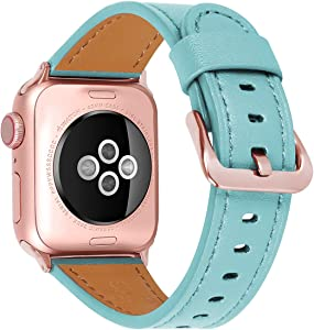 JIKE Compatible with Apple Watch Band 38mm 40mm, 42mm44mm Genuine Leather Watch Strap Compatible with Apple Watch Series 6/5/ 4/ 3 /2/ 1,SE Sport and Edition (Tiffany Blue/Rose Gold , 38mm40mm)