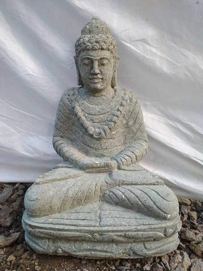 Wanda collection Estatua de Exterior Zen Buda de Piedra volcánica en posición de ofrenda 50 cm: Amazon.es: Jardín