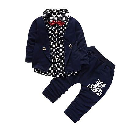 2cbf6ea5db98 Amazon.com: Matoen Newborn Baby Boy Kids Long Sleeves Bow Tie Tops T-shirt+Pants  Outfit Set (12 months, Dark blue): matoen