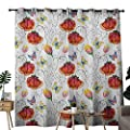 NUOMANAN Bedroom Curtains 2 Panel Sets Watercolor,Doodle Drawing Style Natural Scene with Butterflies and Flowers Swirl Stripes,Multicolor,Complete Darkness, Noise Reducing Curtain