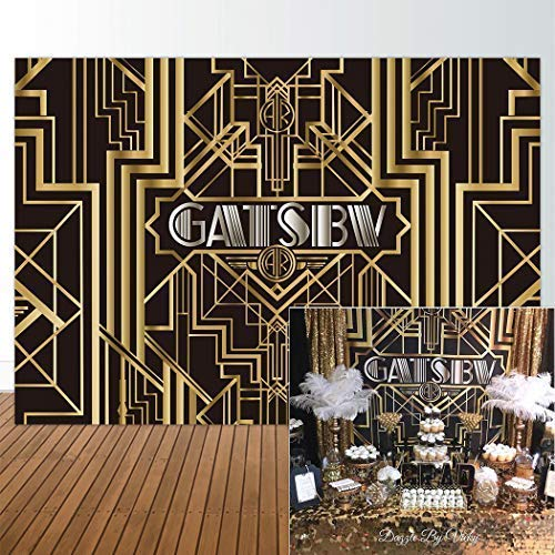 (Allenjoy 8x6ft Photography backdrops Great Gatsby Birthday Adults Children Party Black and Gold Golden Banner Photo Studio Booth Background Newborn Baby Shower)