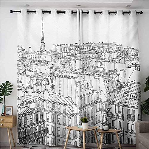 AndyTours Grommet Curtains,Paris,Architecture Theme Design Illustration of Roofs in Paris and Eiffel Tower Print,Darkening Thermal Insulated Blackout,W72x96L,Black and White