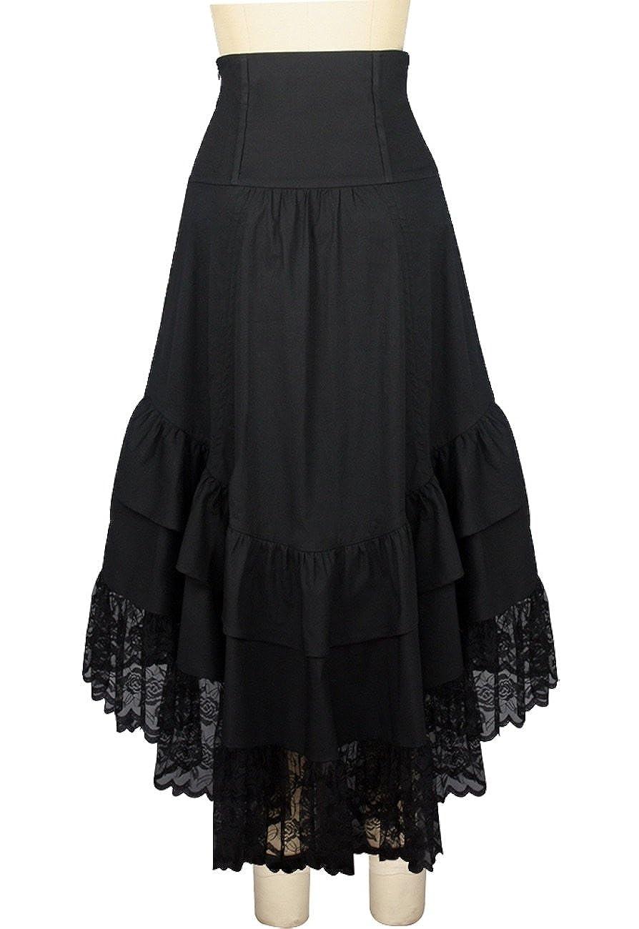 5ad6e148b9 Black Gothic Victorian Steampunk Asymmetric Burlesque Lace Pirate Vamp Long  Skirt: Amazon.co.uk: Clothing
