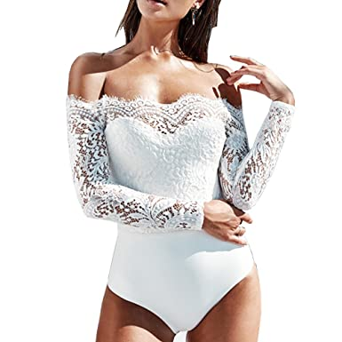 db7d63c32436 Amazon.com  Tuesdays2 Women Off Shoulder Long Sleeve Lace Jumpsuit Rompers  Playsuit  Clothing