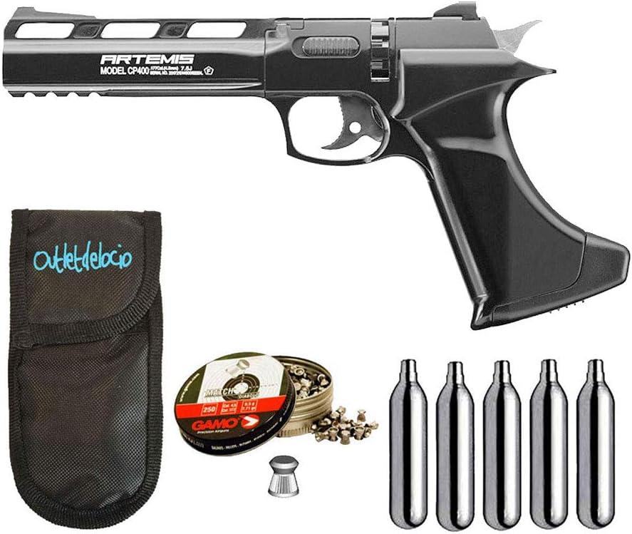 Outletdelocio. Pistola perdigon ZCP400 Zasdar co2 4,5mm + Funda Portabombonas + Balines + Bombonas co2. 23054/29318/38203
