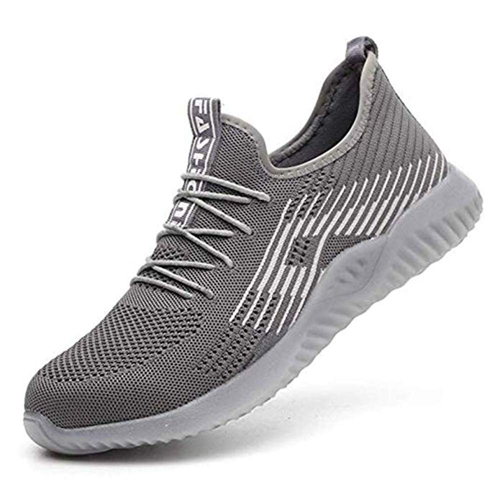 HOHOKING Mesh Breathable Lightweight Comfortable Steel Toe Safety Industrial Construction Slip Resistant Sneakers Industrial Construction Shoes for Men Women (11.5 Women / 9.5 Men, Gray)