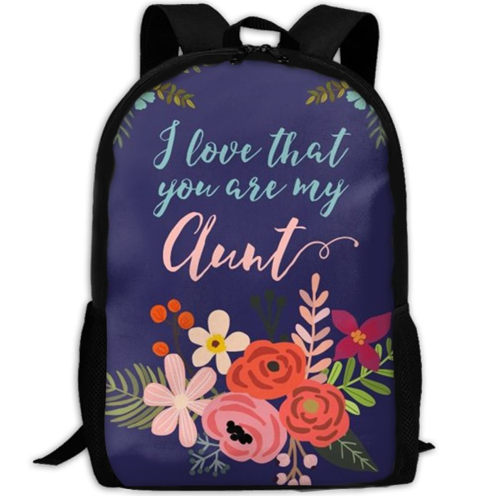 SDEYR79 I Love That You Are My Aunt Flower School Backpack BookBag For College Travel Hiking Fit Laptop Water Resistant