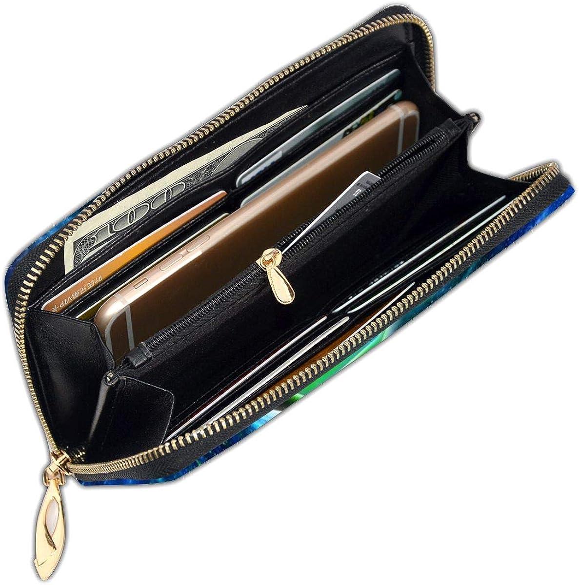 Women Genuine Leather Wallets Wild Animals Lion Credit Card Holder Organizer Ladies Purse Zipper Around Clutch Cash Pocket