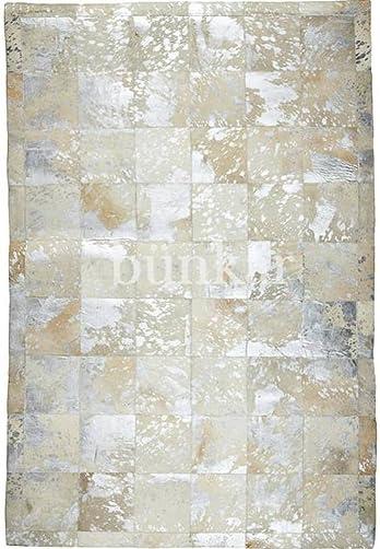 Bunkar Handmade Cowhide Leather Rug – Metallic Ivory Rodeo 6 x8 180cm x 240cm L Area Rug
