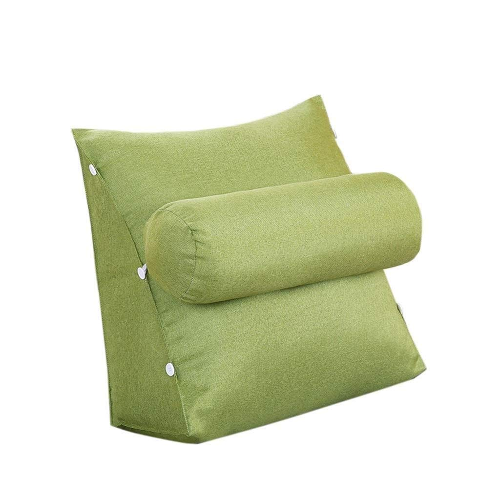 Triangular Wedge Bedside Back Cushion, Sofa Bed Chair Sofa Pillow Bedroom Study Office Cushion Cotton Washable Two Sizes (Color : Green, Size : 605022cm) by Bbhhyy