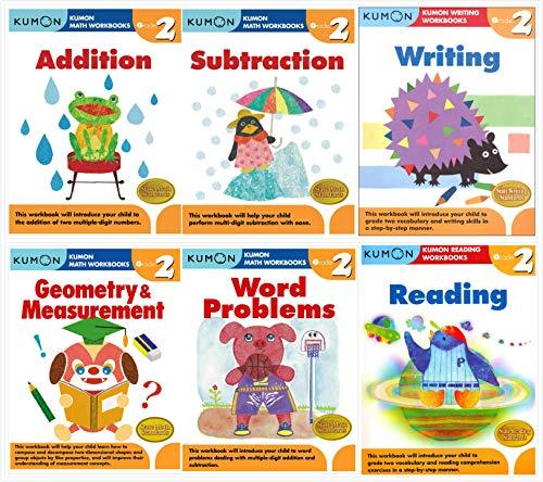 Kumon Grade 2 Complete Set (6 Workbooks) - Addition, Subtraction, Geometry&Measurement, Word Problems, Reading, Writing (Set Grade Complete)