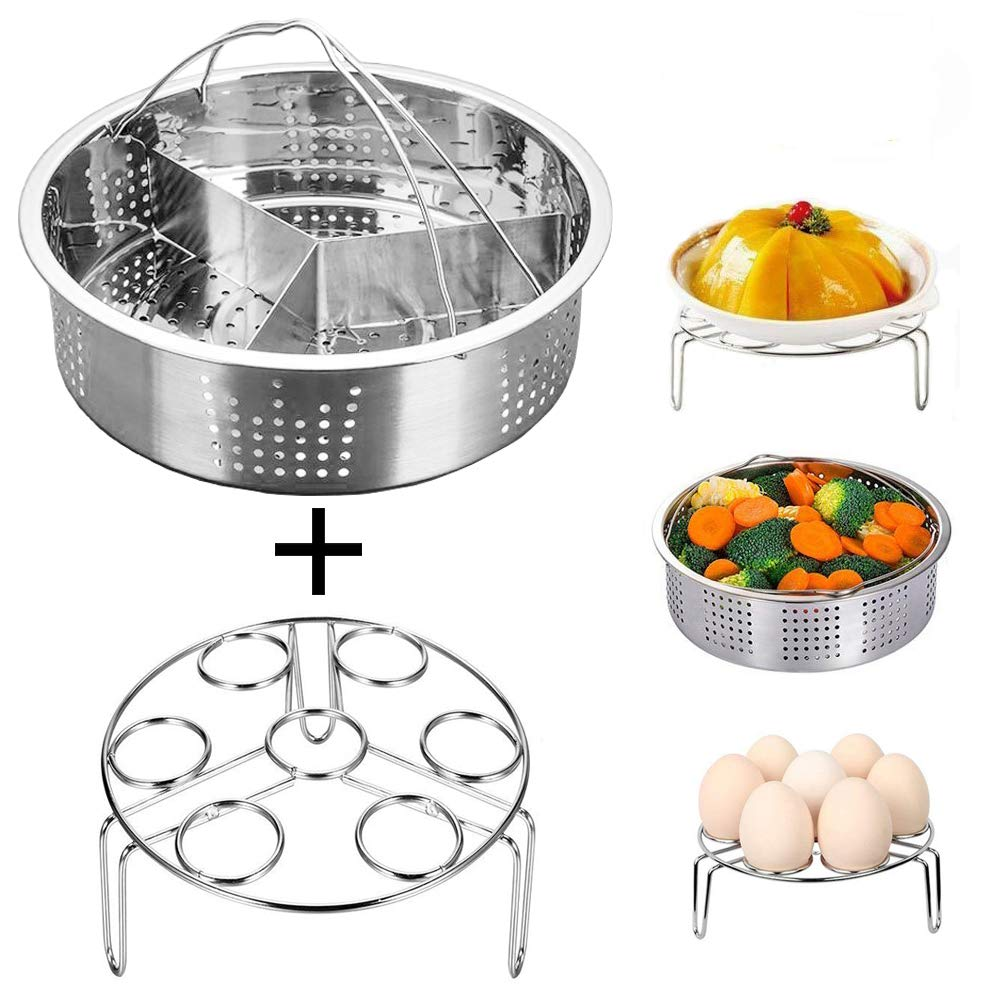 Instant Pot Accessories Steamer Basket with Egg Steamer Rack, Divider, Fits Instant Pot 5,6,8 qt Pressure Cooker, Stainless Steel, 3 Pcs Set, Energy Class A+ Jslai