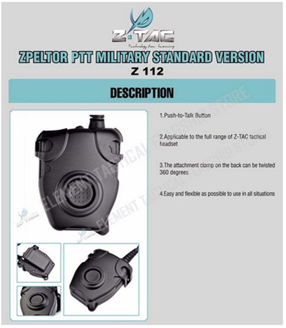 Outdoor headphones Waterproof PTT Cable For Kenwood//ICOM//Midland Plug for Z Tactical Comtac II H50 SORDIN H60HD01 Noise Reduction Headset Z112,PTT with tactical headphones Headset adapter Z112-KEN