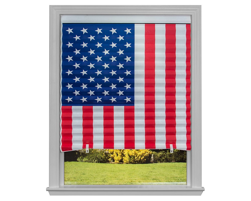 American Flag Pleated Paper Shade, 32 in x 64 in, 4-Pack