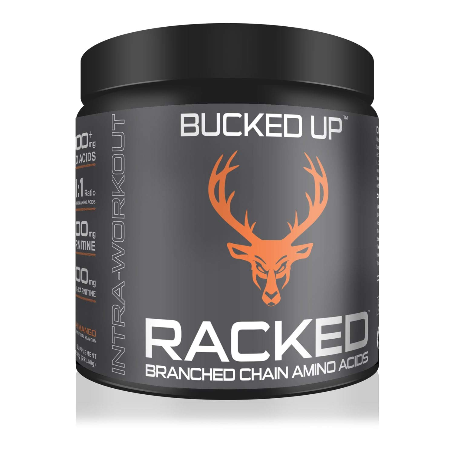 RACKEDTM Branch Chained Amino Acids - Peach Mango Flavor -''BCAAs That You Can Feel!'' Powder, 30 Servings