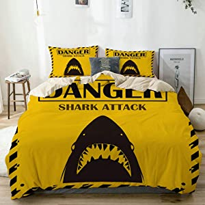 MOTINE Duvet Cover Sheet Set,Beige,Shark Sighting Sign Yellow Danger Shark Attack Background,Soft Microfiber Bedding Set-3 Piece Set,Queen