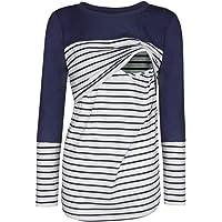 STRIR Camiseta De Mujeres Ropa para La Lactancia De Maternidad De Raya para Mujeres Las Mujeres Embarazadas Maternidad EnfermeríA Raya Lactancia Top Camiseta Blusa