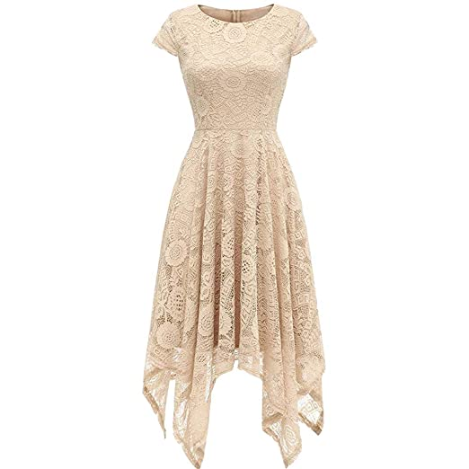 aca9297ad14 DZT1968 Women s Vintage Floral Lace Dress Handkerchief Hem Asymmetrical  Cocktail Formal Swing Dress (Beige