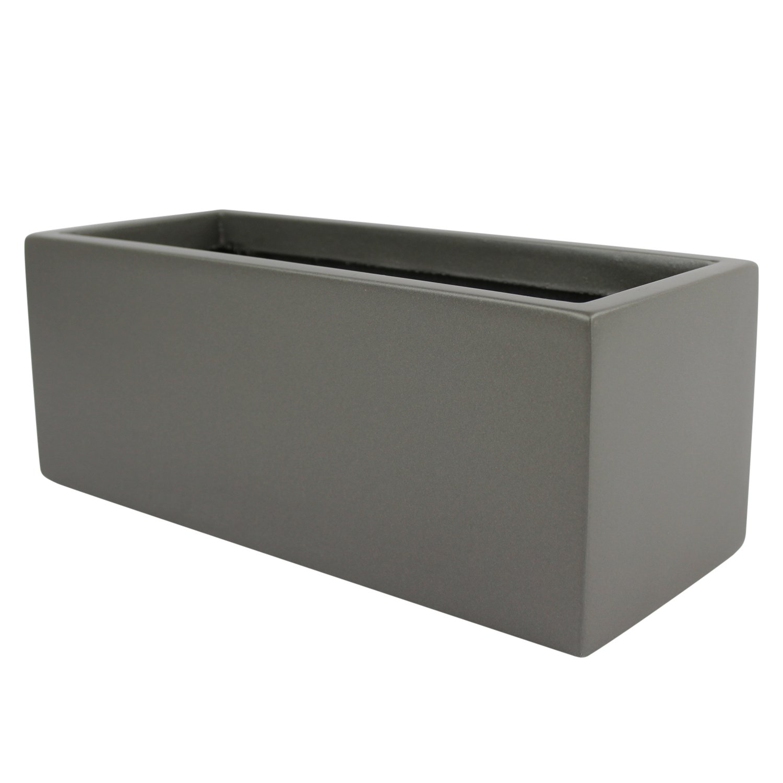 Brisbane Rectangle Fiberglass Planter Box (L:30'' x W:12'' x H:14'', Matellic Grey)