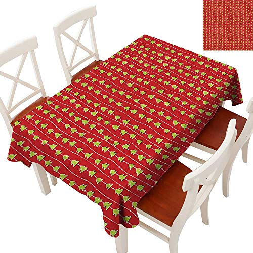 Christmas Tablecloth Heavy Weight Coniferous Tree of New Years Eve Line up on Vertical Stripes Green Xmas for Kitchen Dinning Tabletop Decoration Red Green White 70