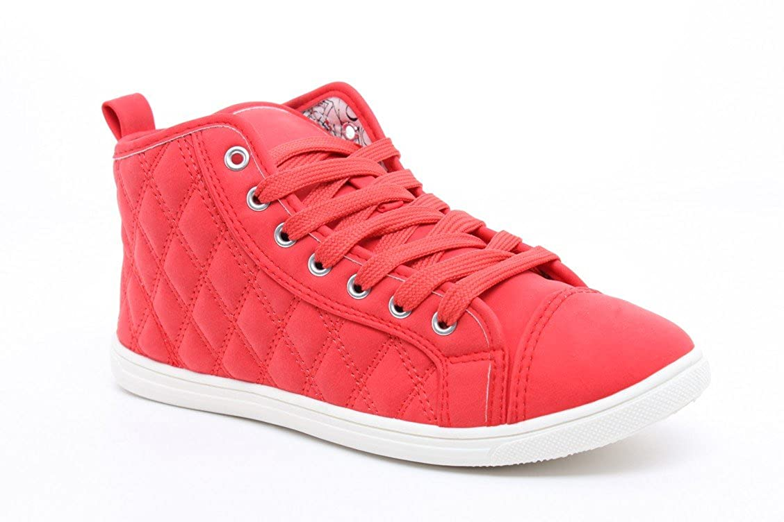 0dcc2c16eae4 T Adore Womens Shoes Girls Hi High Top Ladies Flat Ankle Trainers Pumps -  RED - 8  Amazon.co.uk  Shoes   Bags