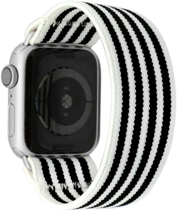 Tefeca Stripe Pattern Elastic Compatible/Replacement Band for Apple Watch 42mm/44mm (Silver Adapters, S fits Wrist Size : 6.0-6.5 inch)