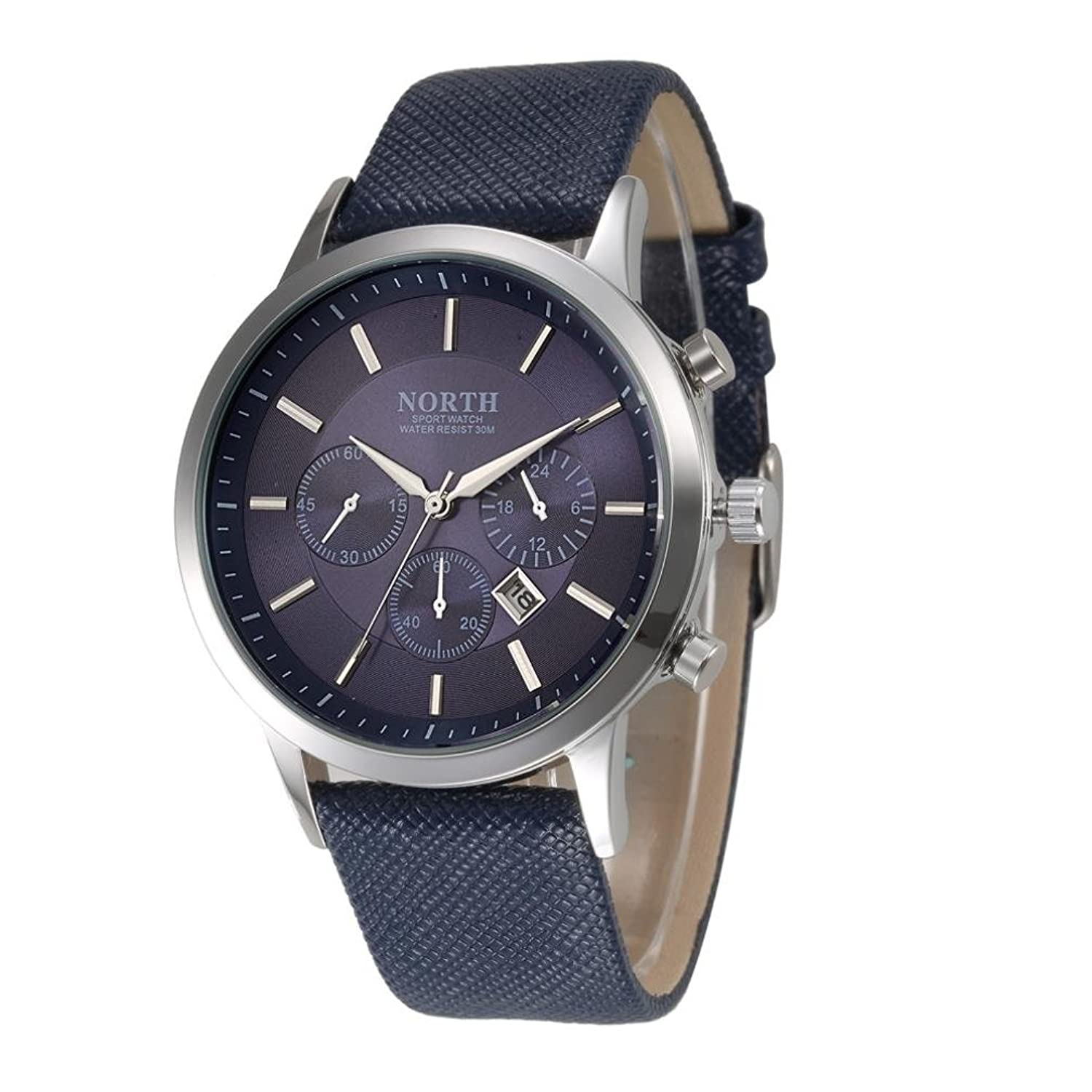 Amazon.com: NORTH Sports Luxury Mens Genuine Leather Band Analog Quartz Watches Wrist Watch Blue: Watches