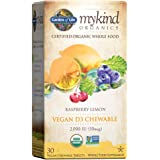 Garden of Life Organic Vitamin D - mykind Organics Vegan D3 Chewable - Raspberry Lemon, 2,000 IU (50mcg) Whole Food Vitamin D