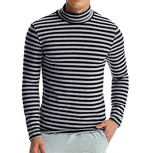 - ZEFOTIM Men's Autumn Winter Striped Turtleneck Long Sleeve T-Shirt Top Blouse (X-Large,Dark Grey)