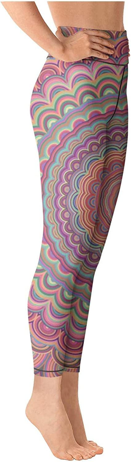 chchht Womens Yoga Pants Legging Workout Bohemian Style Mandala Ornament Exercise for Workout Riding Running