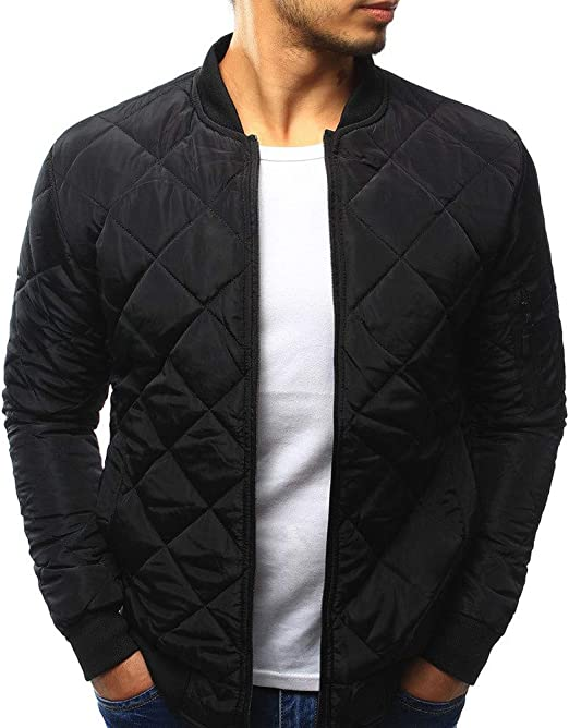 Mens Casual Fashion Bomber Jacket Winter Warm Baseball Coat Slim Fit Outwear