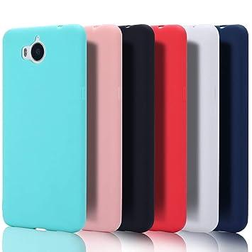 6x Funda Huawei Nova Young Silicona Leton Suave Flexible TPU Carcasa Huawei Y6 2017/Y5 2017 Ultra Delgado Gel Tapa AntiChoque Candy Cubierta Case ...