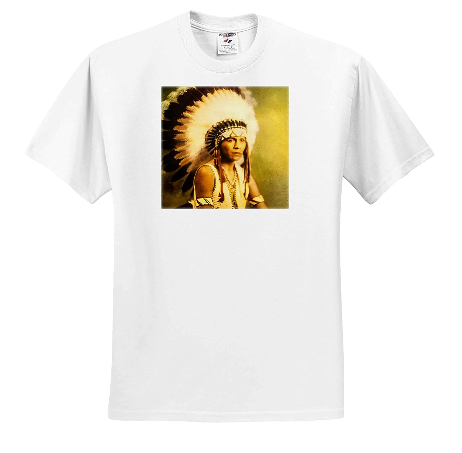 Magic Lantern Native American in Eagle Feather War Bonnet American Plains Indian 3dRose Scenes from The Past T-Shirts