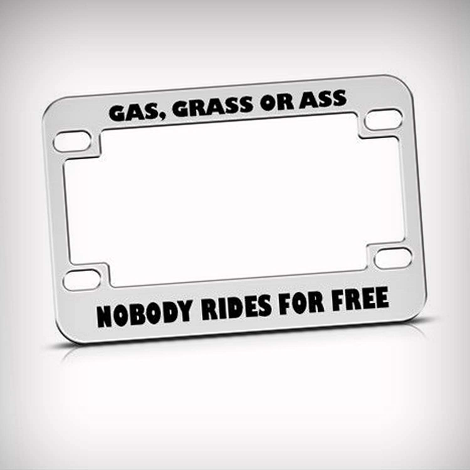 Gas grass ass nobody rides free metal bike motorcycle tag holder license plate frame decorative border novelty plate sign for home garage office decor