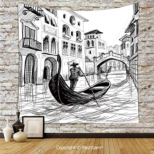 Polyester Tapestry Wall Gondola in Venice European Famous Canal History Mediterranean Holiday Image Hanging Printed Home Decor(W51xL59) ()