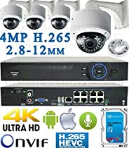 USG Business Grade H.265 4MP 4 Camera HD Security System : Ultra 4K Security NVR + 4x 4MP 2592x1520 2.8-12mm PoE IP Dome Cameras with Bracket & Deep Base + 1x 4TB HDD : Apple Android Phone App