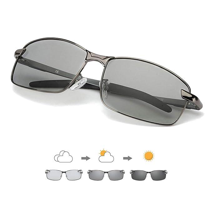 Enafad Gafas Fotocromaticas con Estructura Metálica-Gafas de Sol Hombre Polarizadas Protección 100% UVA/UVB