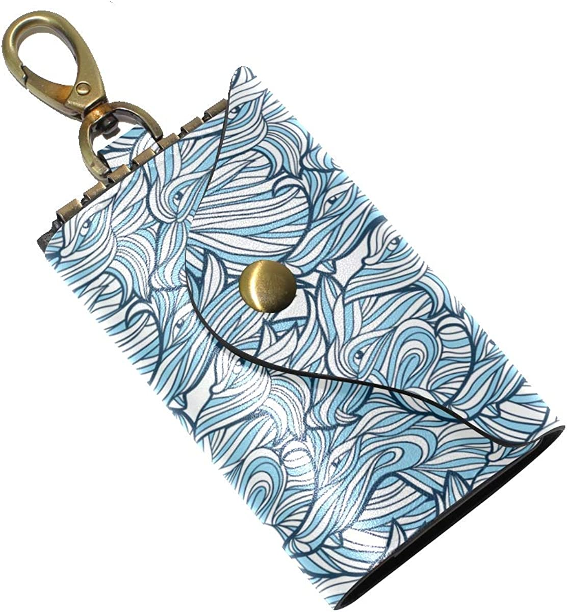 KEAKIA Wolves Abstract Pattern Leather Key Case Wallets Tri-fold Key Holder Keychains with 6 Hooks 2 Slot Snap Closure for Men Women