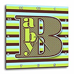 3dRose Doreen Erhardt Baby Designs - Baby Typography in Green Brown and Blue Bold Stripes - 15x15 Wall Clock (dpp_286329_3)