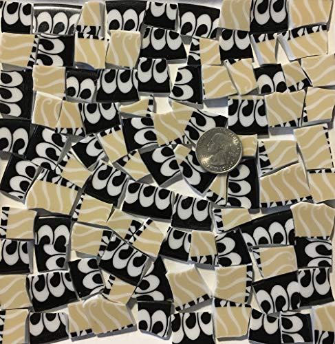 Mosaic Art & Craft Supply ~ Black & Tan Porcelain China Tiles w/White Swirls (B228)