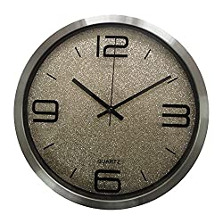 Kaimao 12 Non Ticking Quartz Silent Sweep Brushed Aluminium Wall Clock for Bedroom, Living Room , Study Room, Kitchen and Office - Glittery Grey