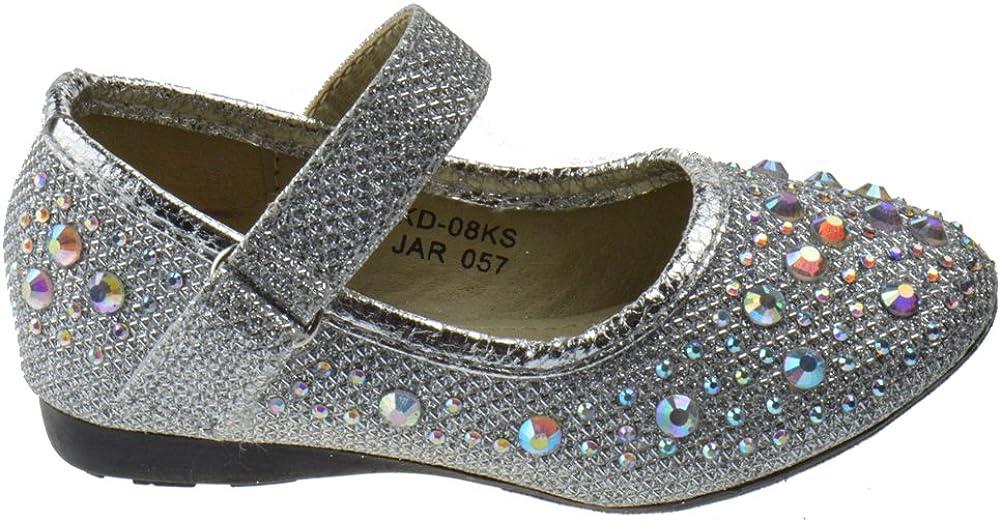 Lucita KD-16KS Baby Girls Rhinestone Ballet Ballerina Flats Silver