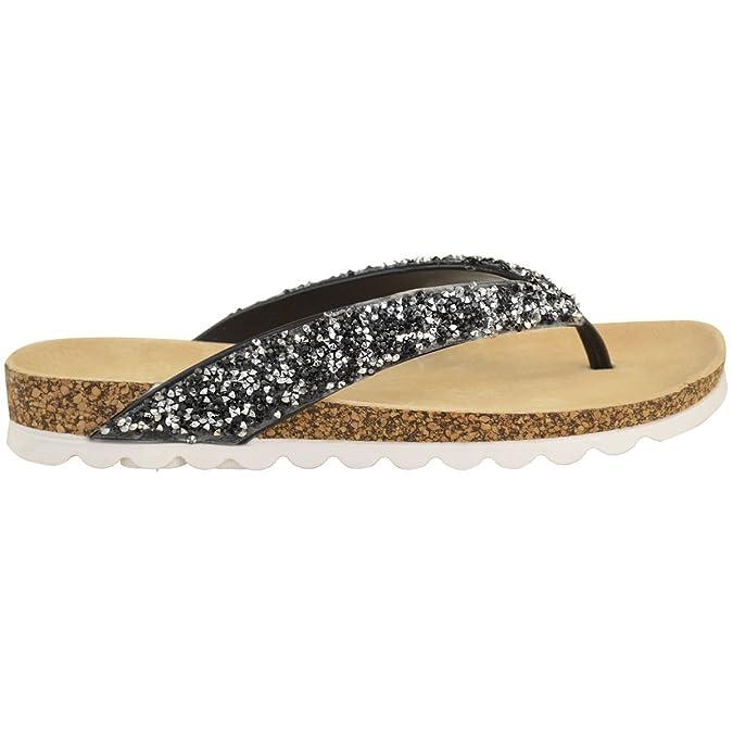 Damen Zehentrennersandalen - bequeme flache Sandalen mit gepolsterter Gel-Sohle - Schwarz Glitzer - EUR 38 7Ka90