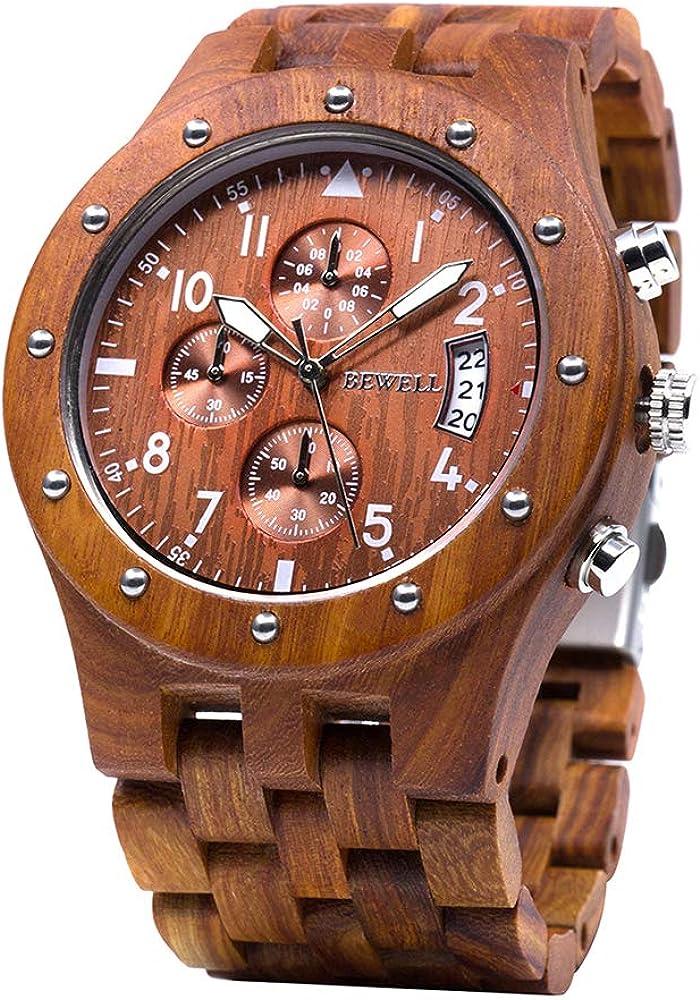 BEWELL Relojes Madera Hombre Cronógrafo Cuarzo Japonés con Correa de Madera W109D
