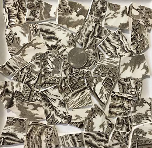 Mosaic Art & Crafts Supply ~ Brown & White Classic Transferware Tiles (B812)