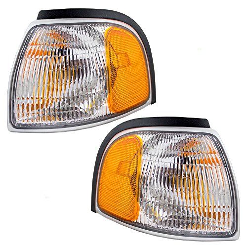 Driver and Passenger Park Signal Corner Marker Lights Lamps Lenses Replacement for Mazda Pickup Truck 1F0051131 1F0051121