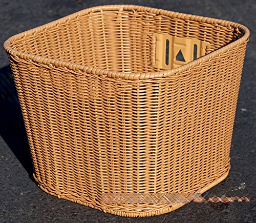 Made in Taiwan, Fito Plastic Cane Wicker Woven Mounting Basket, Mid-Size Dark Brown, 10.5