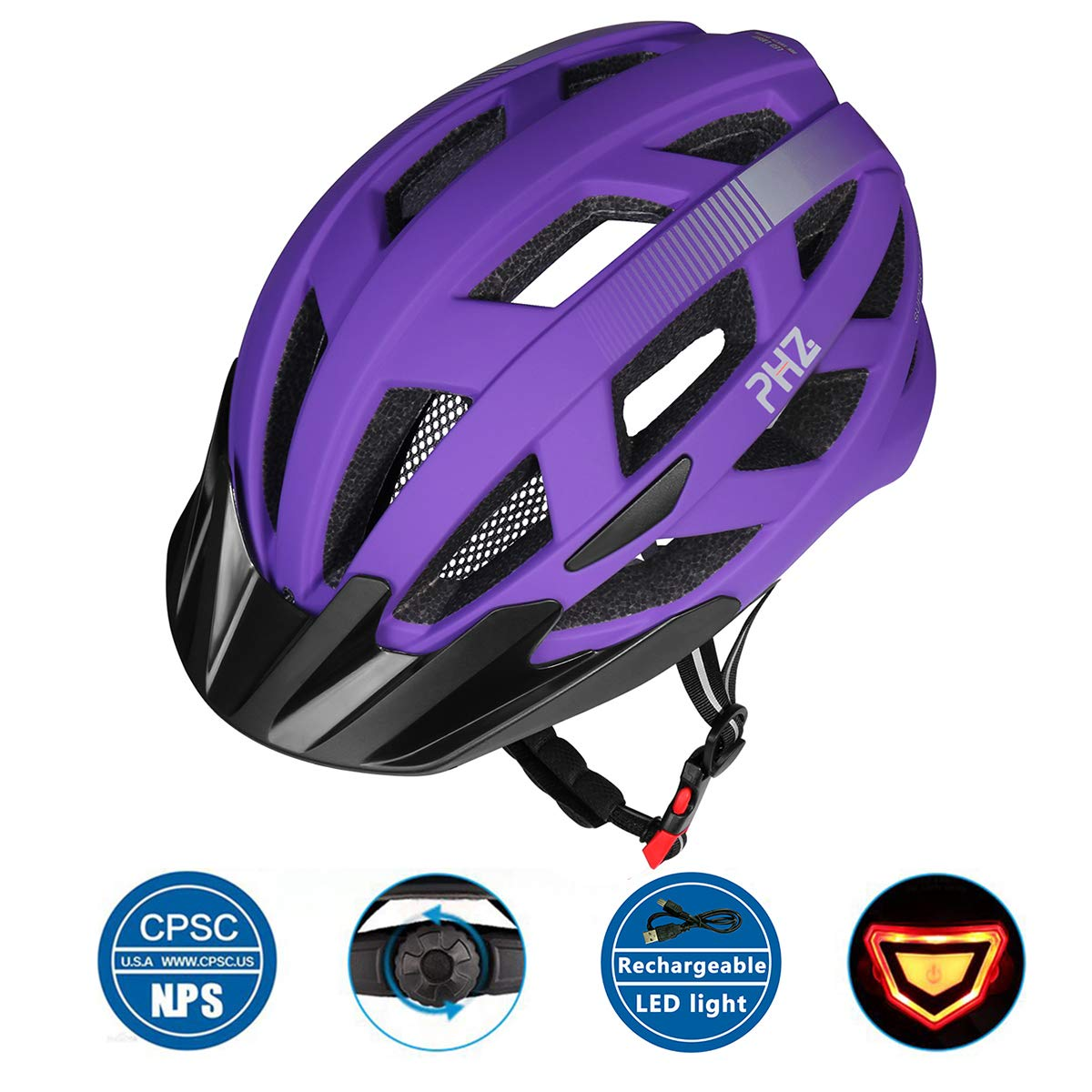 PHZ Adult Bike CPSC Certified Helmet with Rechargeable Led Back Light/Detachable Visor Ideal for Road Ride Mountain Bike Bicycle for Men and Women (Medium, Purple)