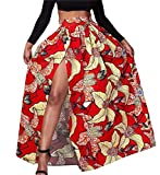 XiaoTianXin-women clothes XTX Womens Classic Split High Waist Pleated Africa Print Swing Maxi Skirts Red M